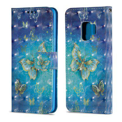 3D PU Leather Flip Wallet Stand Case for Samsung Galaxy S9 Golden Butterfly Pattern