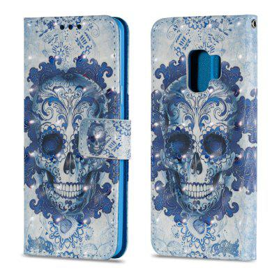 3D PU Leather Flip Wallet Stand Case for Samsung Galaxy S9 Blue Skull Pattern