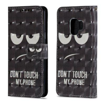 3D PU Leather Flip Wallet Stand Case for Samsung Galaxy S9 Black Eyes Pattern