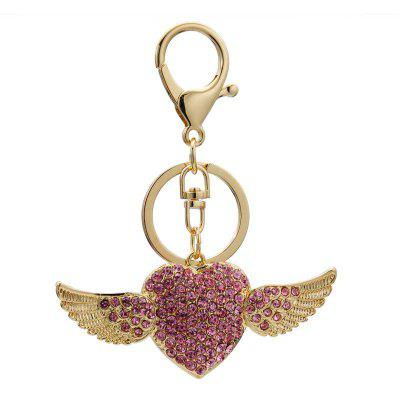 Creative Angel Heart Shape Decoration Rhinestone Key Chain