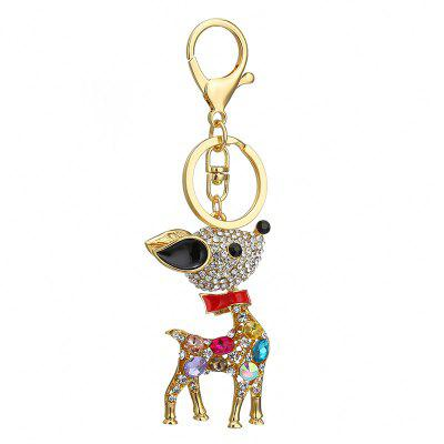 Creative Sika Deer Shape Decoration Rhinestone Key Chain