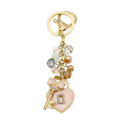 Creative Love Lock Shape Decoration Rhinestone Key Chain