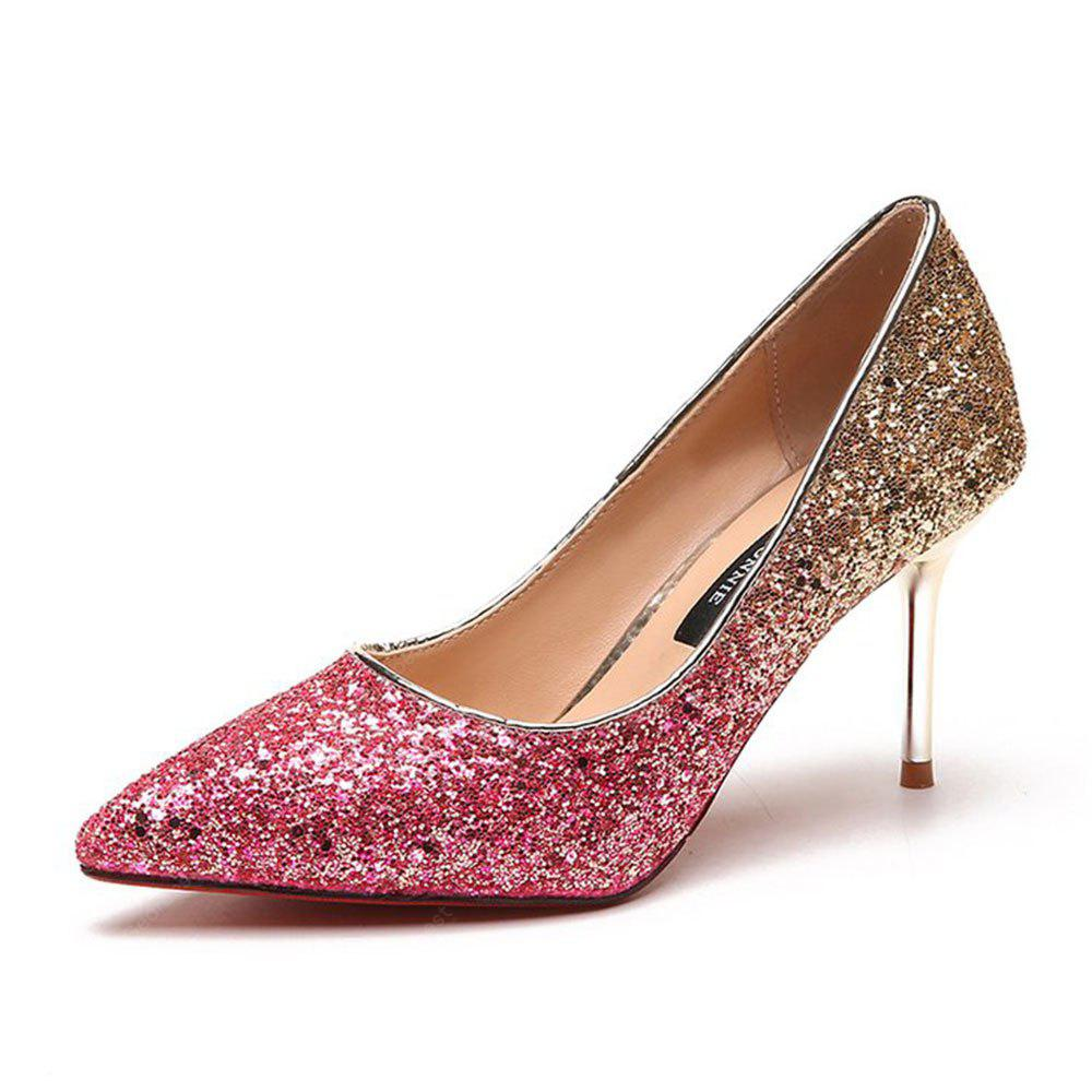 Spring and Summer New Pointed Elegant Fine Sequins Sand High Heels