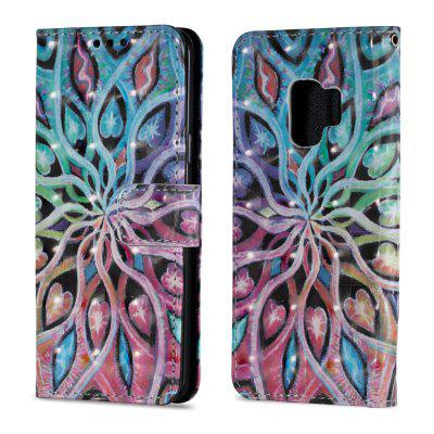 3D PU Leather Flip Wallet Stand Case for Samsung Galaxy S9 Spreading Flowers Pattern