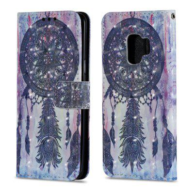 3D PU Leather Flip Wallet Stand Case for Samsung Galaxy S9 Black Wind Chimes Pattern