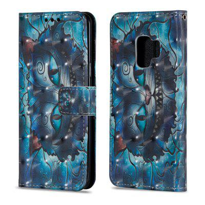 3D PU Leather Flip Wallet Stand Case for Samsung Galaxy S9 Blue Cat Pattern