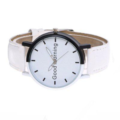 Good Morning English Word Leather Strap WatchMens Watches<br>Good Morning English Word Leather Strap Watch<br><br>Band material: Leather<br>Case material: Stainless Steel<br>Clasp type: Pin buckle<br>Display type: Analog<br>Movement type: Quartz watch<br>Package Contents: 1 x Watch<br>Package size (L x W x H): 23.00 x 4.10 x 0.40 cm / 9.06 x 1.61 x 0.16 inches<br>Package weight: 0.0500 kg<br>Product size (L x W x H): 22.50 x 4.00 x 0.20 cm / 8.86 x 1.57 x 0.08 inches<br>Product weight: 0.0460 kg<br>Shape of the dial: Round<br>Watch mirror: Mineral glass<br>Watch style: Trends in outdoor sports, Cool, Business, Fashion, Casual<br>Watches categories: Women,Men<br>Water resistance: Life water resistant