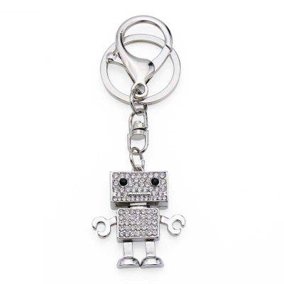 Creative Robot Shape Decoration Rhinestone Key Chain