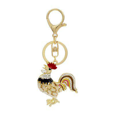 Creative Cock Shape Decoration Rhinestone Key Chain