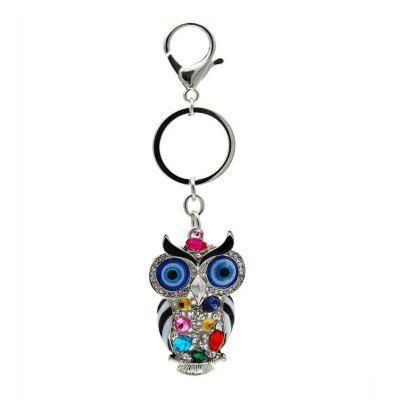 Creative Colorful Owl Shape Decoration Rhinestone Key Chain