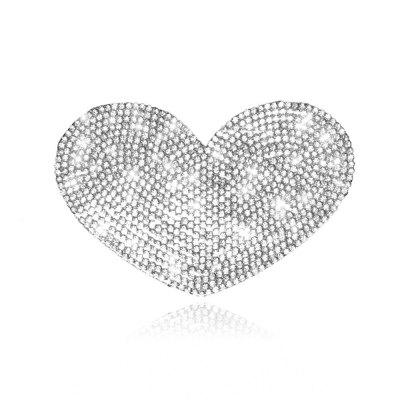 Car Sticker Crystal Rhinestone  Truck SUV Home Office Window Decal Sticker Decoration Silver Heart Shape 3.2 By 2.4 inch