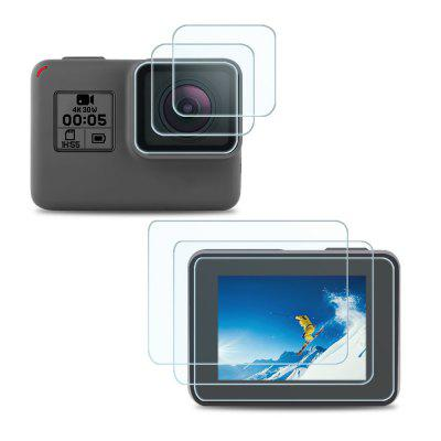 Tempered Glass Screen Protector + Camera Lens Film Action Camera Lens Protector for Gopro Hero 6 / Gopro Hero 5 2pcs