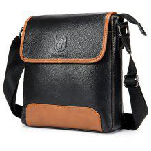 BULLCAPTAIN Casual Splicing Genuine Leather Shoulder Bag