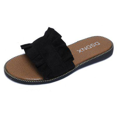 Buy Summer New Flat Outside Wear Comfortable Non-slip Cool Slippers BLACK 39 for $25.74 in GearBest store