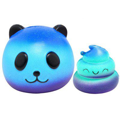 Jumbo Squishy Galaxy Panda and Emoji Stress Relief Soft Toy for Kids and Adults 2PCS