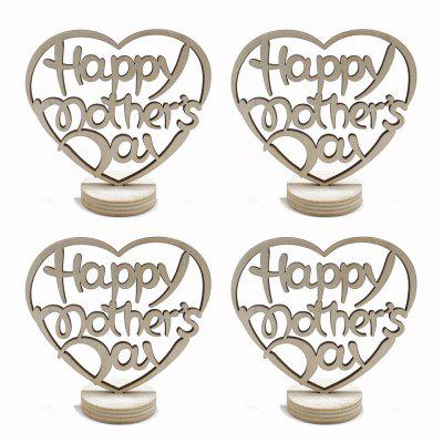 Happy Mother's Day Holidays Home Furnishing Wood Decoration Crafts 4pcs