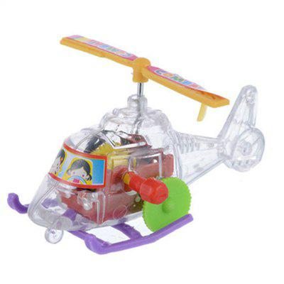 Small Plane Chain Wind-up Transparent Plastic Slide Helicopter Toy with Rotating Propeller