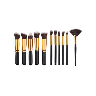 Buy 11PCS High Quality Professional Makeup Brushes with Fan Set BLACK for $11.53 in GearBest store