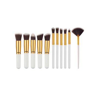 Buy 11PCS High Quality Professional Makeup Brushes with Fan Set MILK WHITE for $11.53 in GearBest store