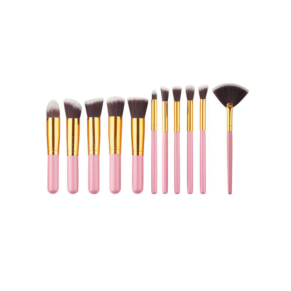 11PCS High Quality Professional Makeup Brushes with Fan Set PINK