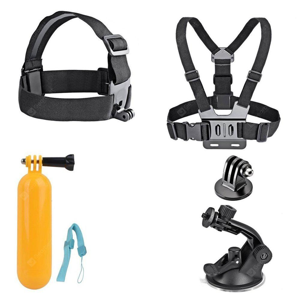 Accessories Kit Floating Mount + Chest Strap +  Head  Strap + Car Suction Cup Gopro Hero 6 /Hero 5/ 4 - BLACK