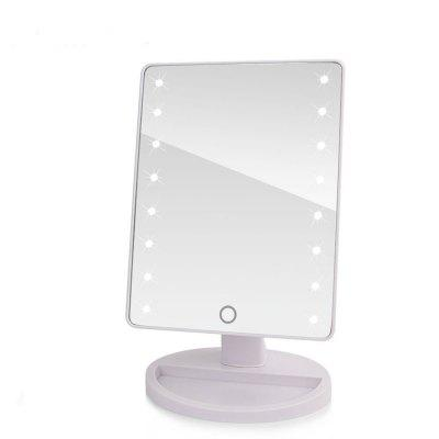 LED Touch Screen Makeup Mirror Professional Vanity with 16 Lights Health Beauty Adjustable Countertop 360 Rotating