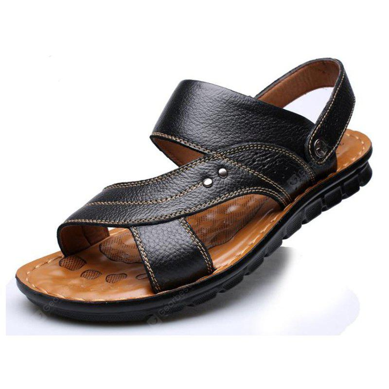Open Toe Men'S Sandals Slippers Casual Cowhide Beach Shoes
