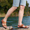 Open Toe Men'S Sandals Slippers Casual Cowhide Beach Shoes - ORANGE