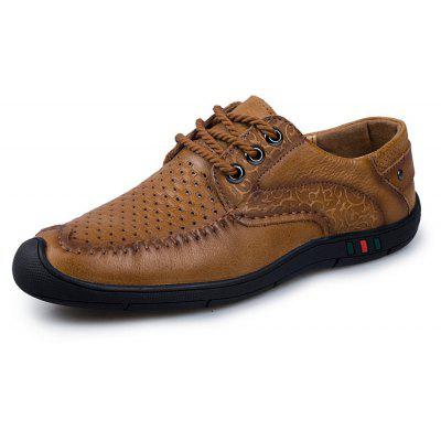 ZEACAVA Men's Leather Breathable Lacing Foot Casual Shoes