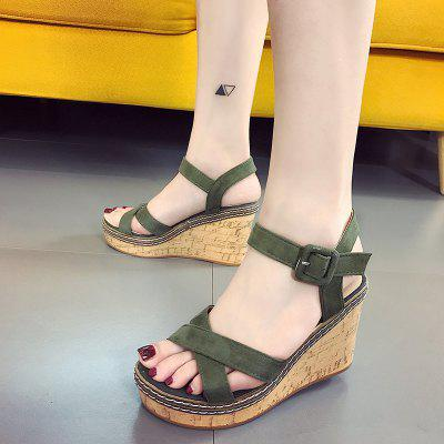 New Comfortable Joker Thick Bottom Female Sandals in SummerWomens Sandals<br>New Comfortable Joker Thick Bottom Female Sandals in Summer<br><br>Available Size: 35?36?37?38?39?40<br>Closure Type: Buckle Strap<br>Gender: For Women<br>Heel Type: Wedge Heel<br>Occasion: Casual<br>Package Content: 1 x Shoes?Pair?<br>Pattern Type: Solid<br>Sandals Style: Gladiator<br>Style: Concise<br>Upper Material: PU<br>Weight: 1.0080kg