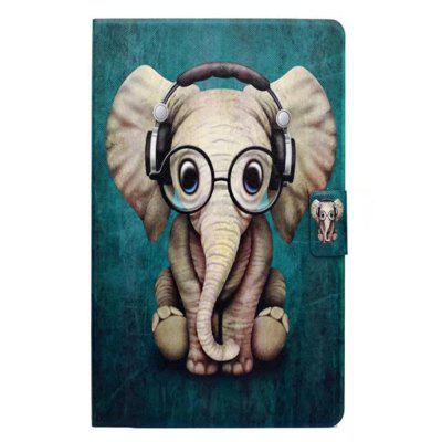 Case for Samsung Galaxy Tab A 10.1 T580N Card Holder with Stand Flip Pattern Full Body Elephant Hard PU Leather