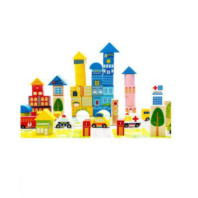 62 Urban Traffic Wooden Block Children Puzzle Toy