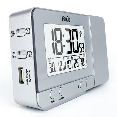 FanJu FJ3531 Projection Alarm Clock with Temperature and Time Projection / USB Charger/ Indoor Temperature and HumidityClocks<br>FanJu FJ3531 Projection Alarm Clock with Temperature and Time Projection / USB Charger/ Indoor Temperature and Humidity<br><br>Brand: FanJu<br>Color: Silver<br>Material: Plastic<br>Model: FJ3531<br>Package Contents: 1 x Projection Alarm Clock, 1 x USB Power Cable,  1 x English User Manual<br>Package Quantity: 1<br>Package size (L x W x H): 14.50 x 4.80 x 9.50 cm / 5.71 x 1.89 x 3.74 inches<br>Package weight: 0.1860 kg<br>Product size (L x W x H): 13.50 x 3.00 x 8.00 cm / 5.31 x 1.18 x 3.15 inches<br>Product weight: 0.1860 kg<br>Shape: Rectangular<br>Style: Fashion<br>Theme: Others<br>Time Display: Digital<br>Type: Alarm Clock