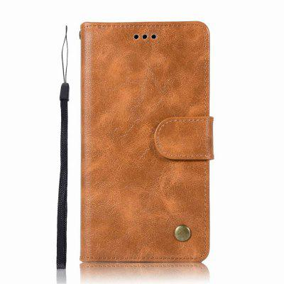 Leather Flip Wallet Case for Lenovo A6000 Holer Phone Shell with Lanyard- GOLDEN BROWN