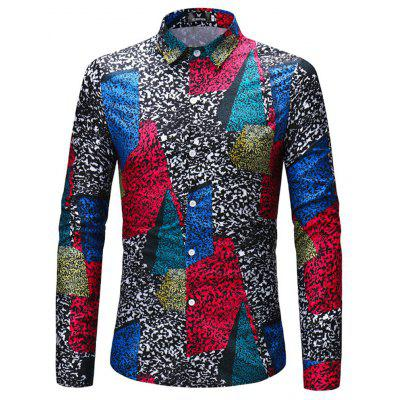 2018 New Men's Color Patch Long-Sleeved Shirt
