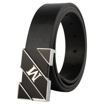 ZHAXIN M Letter Printing Alloy Smooth Clasp Fashion Men PU Belts