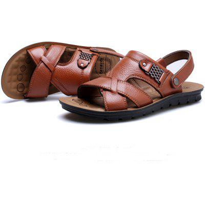 Summer Casual Cow Leather Men Beach Sandals Slipper casual thickening sweater