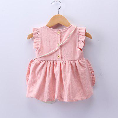 Baby Girls Dress Frill Sleeve Bow Bear Ornamentbaby dresses<br>Baby Girls Dress Frill Sleeve Bow Bear Ornament<br><br>Dresses Length: Knee-Length<br>Head Drawstring: Without<br>Material: Cotton<br>Neck Drawstring: Without<br>Neckline: Round Collar<br>Package Contents: 1 x Skirt<br>Pattern Type: Solid<br>Season: Summer<br>Silhouette: Ball Gown<br>Style: Brief<br>Weight: 0.1200kg<br>With Belt: No