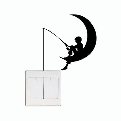 DSU Fisherman Fishing Moon Vinyl Switch Sticker for Kids Room Bedroom Home Decor