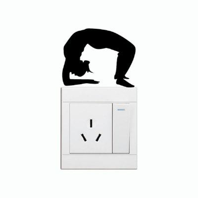 DSU Fitness Girl Stretching Backwards On Light Switch Sticker Silhouette Decal