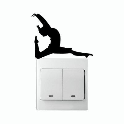 DSU  Fitness Dancer With One Leg Pointed On Light Switch Stickcer Wall Decal