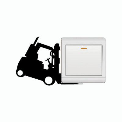 DSU Funny Forklift Light Switch Sticker Cartoon Vinyl Wall Stickers for Kids Room