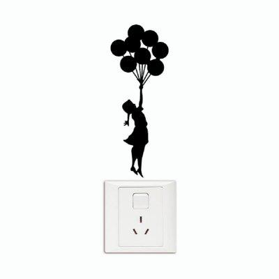 Buy DSU Girl with Balloons Viny Switch Sticker Child Silhouette Wall Sticker, BLACK, Home & Garden, Home Decors, Wall Art, Wall Stickers for $1.75 in GearBest store