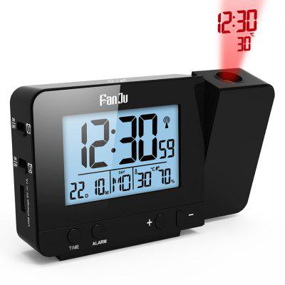 FanJu FJ3531 Projection Alarm Clock with Temperature and Time ProjectionClocks<br>FanJu FJ3531 Projection Alarm Clock with Temperature and Time Projection<br><br>Brand: FanJu<br>Color: Black<br>Material: Plastic<br>Model: FJ3531B<br>Package Contents: 1 x Projection Alarm Clock, 1 x USB Power Cable,  1 x English User Manual<br>Package Quantity: 1<br>Package size (L x W x H): 14.50 x 4.80 x 9.50 cm / 5.71 x 1.89 x 3.74 inches<br>Package weight: 0.1860 kg<br>Powered by: Battery or Power Cable<br>Product size (L x W x H): 13.50 x 3.00 x 8.00 cm / 5.31 x 1.18 x 3.15 inches<br>Product weight: 0.1860 kg<br>Shape: Rectangular<br>Style: Fashion<br>Theme: Others<br>Time Display: Digital<br>Type: Table Clock