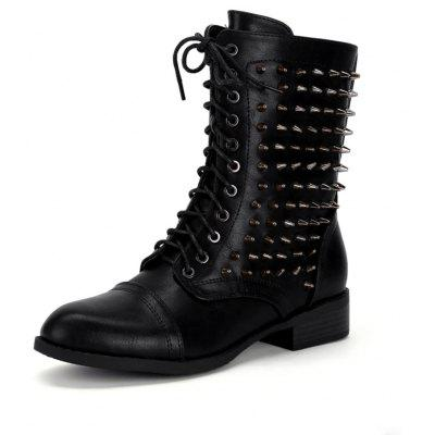 Lace Up Zipper Studded Boots -  36  BLACK