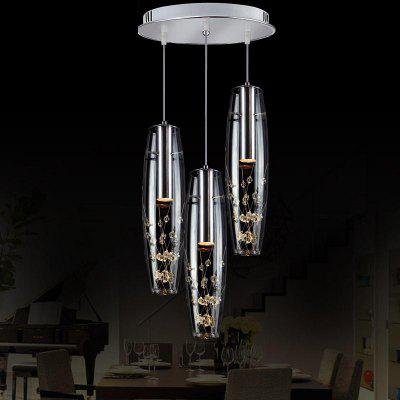 LED Restaurant Crystal Chandelier 3 Modern Simplicity Pendant Light