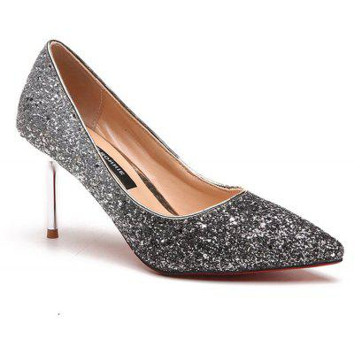 Spring and Summer New Pointed Elegant Fine Sequins Sand High HeelsWomens Pumps<br>Spring and Summer New Pointed Elegant Fine Sequins Sand High Heels<br><br>Available Size: 35 36  37 38 39<br>Embellishment: Lace<br>Heel Height Range: High(3-3.99)<br>Heel Type: Stiletto Heel<br>Insole Material: PU<br>Lining Material: Polyester,PU<br>Occasion: Dress<br>Outsole Material: Rubber<br>Package Contents: 1 x Shoes (pair)<br>Pumps Type: Mary Janes<br>Season: Summer, Spring/Fall<br>Shoe Width: Medium(B/M)<br>Toe Shape: Pointed Toe<br>Toe Style: Closed Toe<br>Upper Material: PU<br>Weight: 1.3200kg