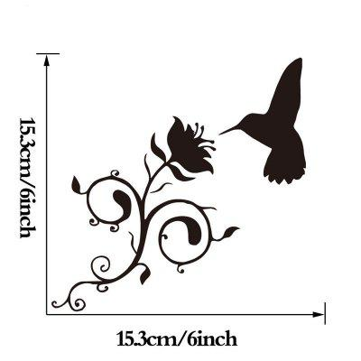 DSU Hummingbird And Flower Vinyl Decal Bathroom Decorative Glass Toilet StickersWall Stickers<br>DSU Hummingbird And Flower Vinyl Decal Bathroom Decorative Glass Toilet Stickers<br><br>Brand: DSU<br>Color Scheme: Black<br>Function: Height Sticker, Light Switch Stickers, Decorative Wall Sticker, Fridge Sticker<br>Material: Vinyl(PVC)<br>Package Contents: 1 x Wall Sticker<br>Package size (L x W x H): 17.00 x 17.00 x 0.50 cm / 6.69 x 6.69 x 0.2 inches<br>Package weight: 0.0800 kg<br>Product size (L x W x H): 15.30 x 15.30 x 0.10 cm / 6.02 x 6.02 x 0.04 inches<br>Product weight: 0.0500 kg<br>Quantity: 1<br>Subjects: Fashion,Vintage,Others,Holiday,Cute,Cartoon<br>Suitable Space: Garden,Living Room,Bathroom,Bedroom<br>Type: Plane Wall Sticker