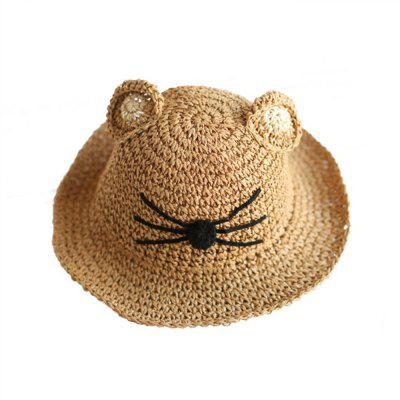 Summer Children Cat Coils of Hand Woven Sun Hat