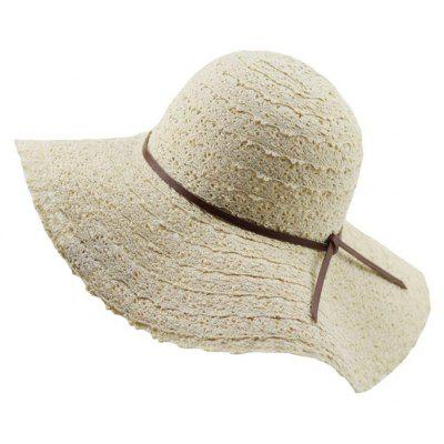 Summer Lace Hollowed Out Holiday Sunscreen with Simple Bow Beach Hat